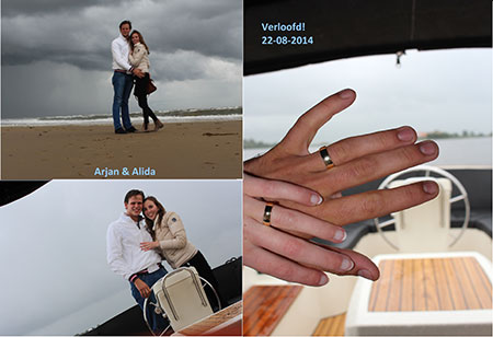 prachtige foto's van de verloving en verlovingsringen van Arjan en Alida gekocht bij trouwringen.Heusden.nl