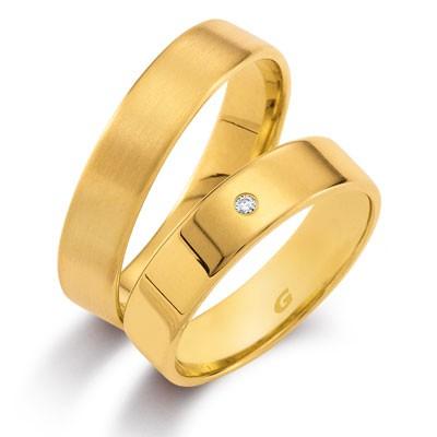 duo of love 1101-50, geelgouden trouwringen 5 mm breed, aktie herenring gratis
