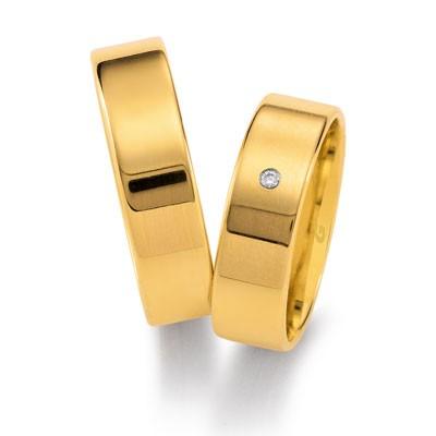 duo of love 1101-60, geelgouden trouwringen 6 mm breed, aktie herenring gratis