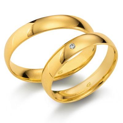 duo of love 1102-40 geelgouden trouwringen 4 mm breed actie herenring gratis