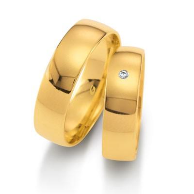 duo of love 1102-60 geelgouden trouwringen 6 mm breed aanbieding herenring gratis