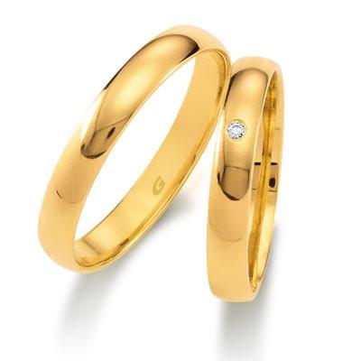 duo of love 1103-35 geelgouden bolle trouwringen, kegelmodel, aanbieding herenring gratis