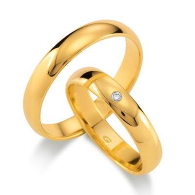 duo of love 1103-40 geelgouden bolle trouwringen 4 mm breed aanbieding herenring gratis