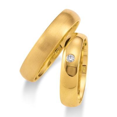 duo of love 1103-50, geelgouden trouwringen, breedte 5 mm, aanbieding herenring gratis
