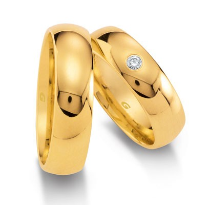 duo of love 1103-60 geelgouden trouwringen 6 mm breed aktie herenring gratis