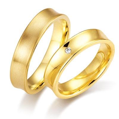 duo of love 1104-50 geelgouden trouwringen 5 mm breed aanbieding herenring gratis