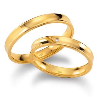 duo of love 1104-35, geelgouden trouwringen met een lichte holling, herenring gratis aanbieding