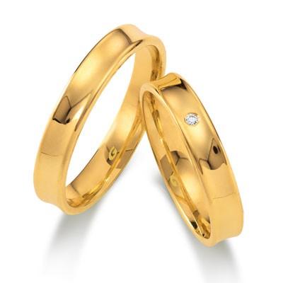 duo of love 1104-40 geelgouden trouwringen 4 mm breed met lichte holding actie herenring gratis