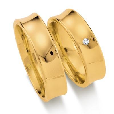 duo of love 1104-60 geelgouden trouwringen 6 mm breed actie herenring gratis