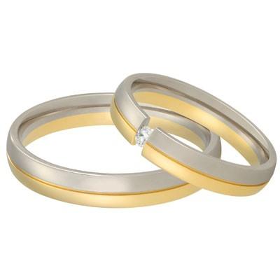 aller spanninga 166 trouwringen in twee kleuren geelgoud en witgoud met zwevend briljantje
