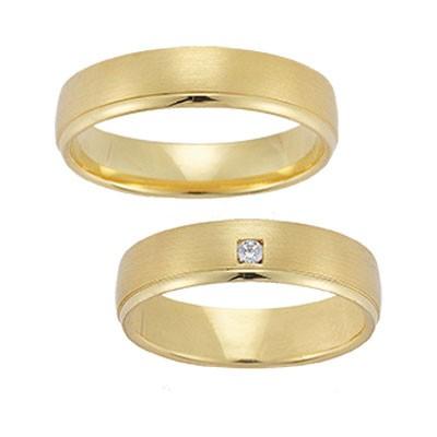 Gerstner 20216, strakke geelgouden trouwringen, combinatie van mat en glanzend goud