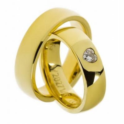 Gerstner 20271 hartvorm diamant, zeer speciaal slijpsel in zware gouden trouwring