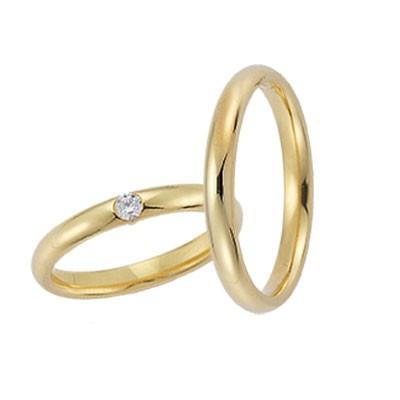 Gerstner 20353 geelgouden bolle klassieke trouwring met naar keuze briljant in de damesring