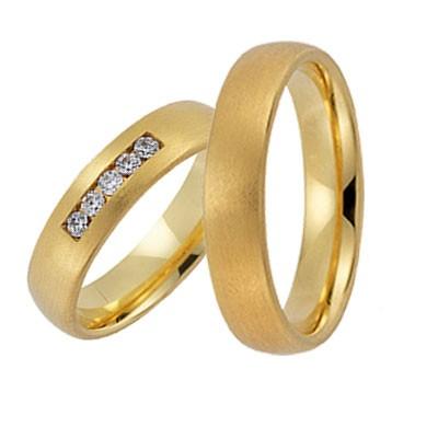 Gerstner 20802, geelgouden matte trouwring, in de damesring 5 briljanten op een rij