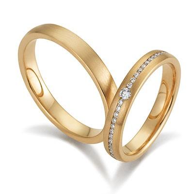 Gerstner 28506 geelgouden trouwringen met briljant gematteerde trouwringen