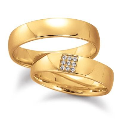 duo of love 8055 geelgouden trouwringen met briljant herenring gratis